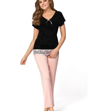 Piżama Iris Czarno-Pudrowo Różowa