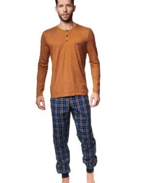 Piżama Max 39239-18X Brązowo-Niebieska
