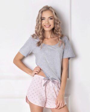 Piżama Q Short Szaro-różowa
