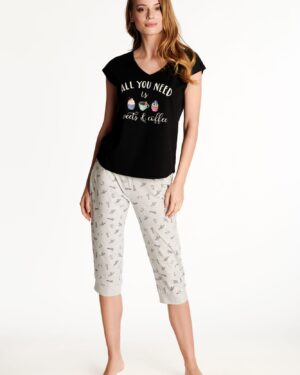 Piżama Westley 38262-99X Czarno-Szara