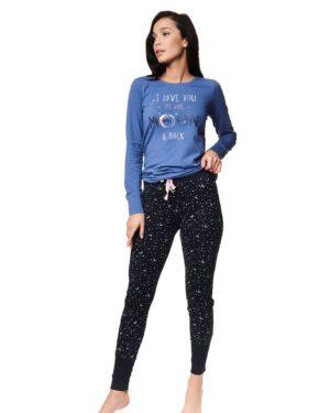 Piżama Zadie 39225-55X Niebiesko-Czarna