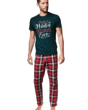 Piżama Zev 39407-79X Zielono-Czerwona